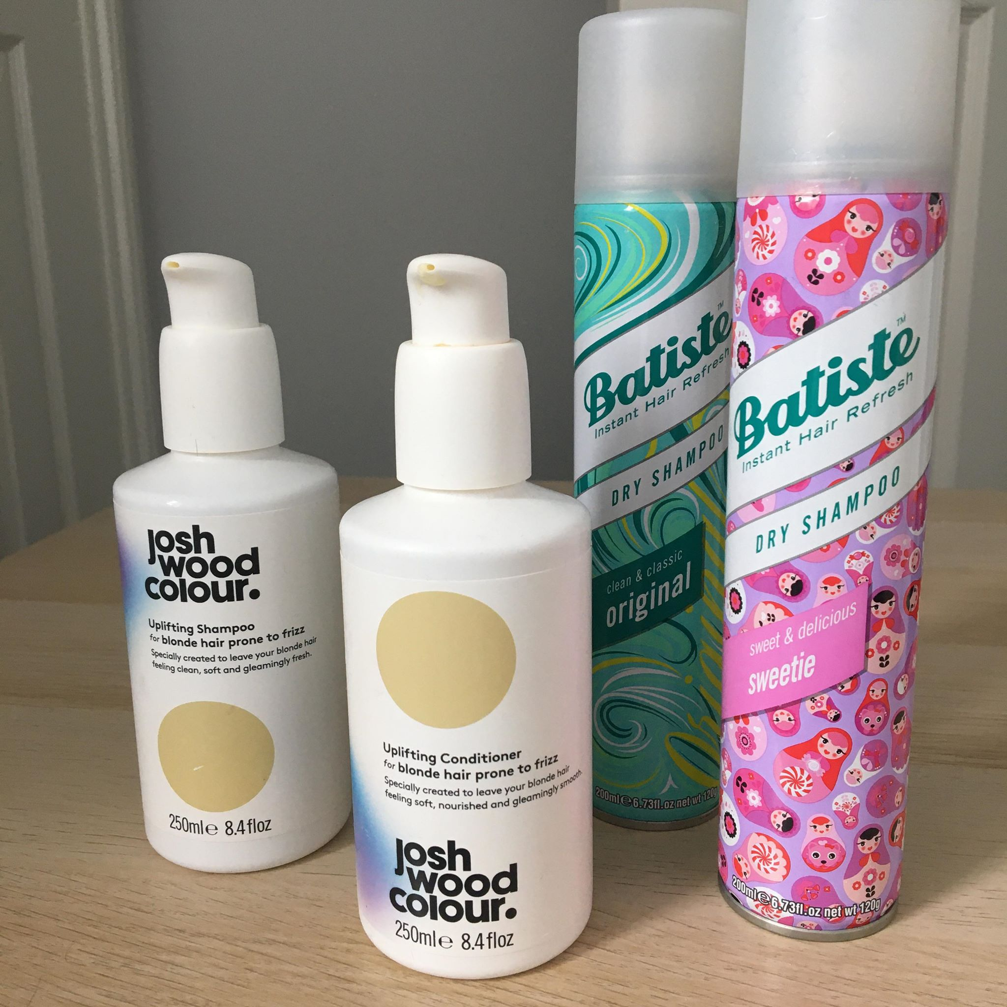 Josh Wood Colour shampoo and conditioner, two empty cans of Batiste dry shampoo - Empties