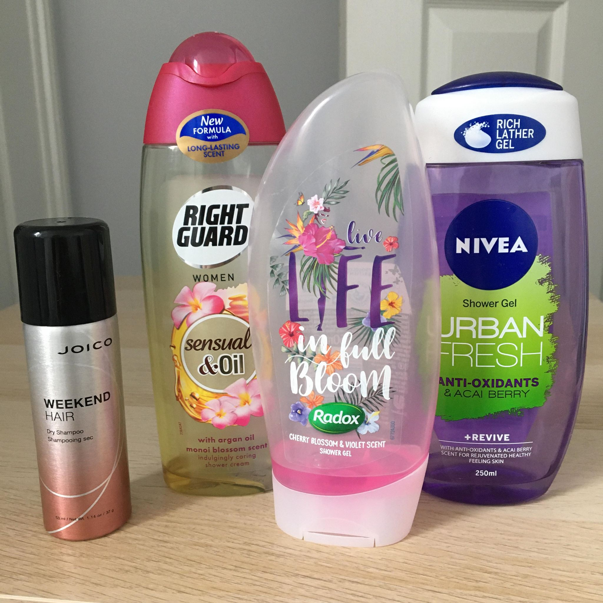 Joico Weekend Hair, Right guard shower gel, Radox shower gel, Nivea shower gel - Empties