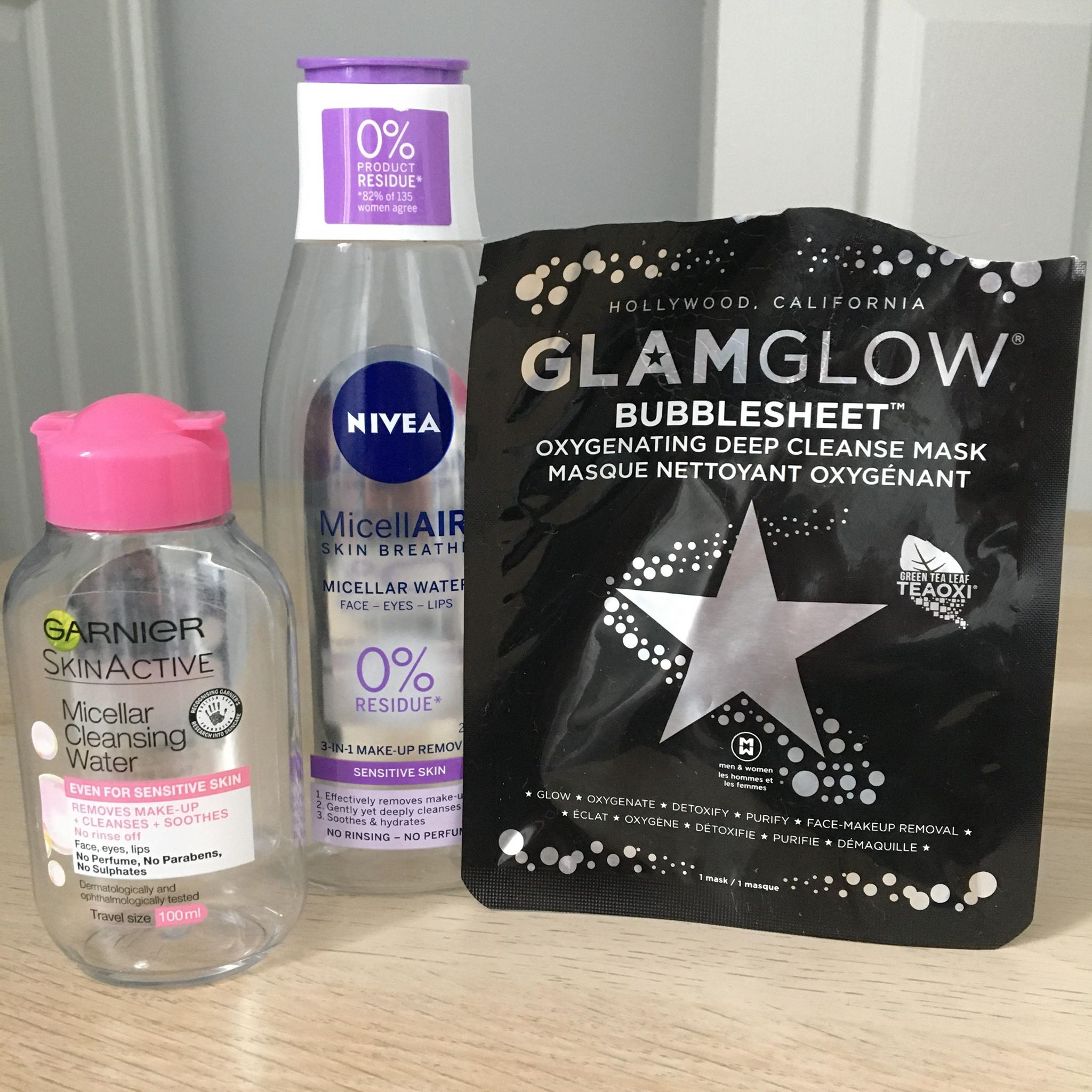 Garnier Micellar Water, Nivea MicellAIR water, GlamGlow Bubblesheet mask - Empties